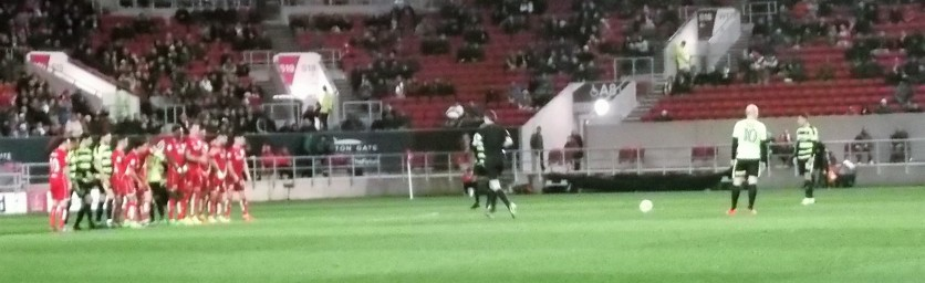 Penalty kick during the first half.