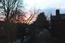 Sunset as seen from outside out flat window.