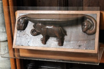 Elephant misericord, one of 50 in the cathedral.