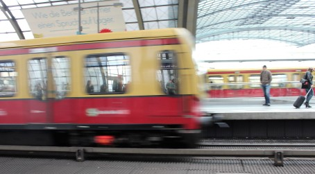 A train pulls into the Berlin Hbf station. Public transportation is quicker and more integrated than it is in the United States.