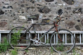 Derelict bicycle outside Rathlin church.