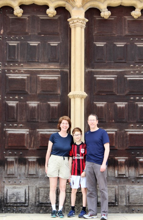 Exterior doors leading to St. Michael's chapel a great place for a family portrait.