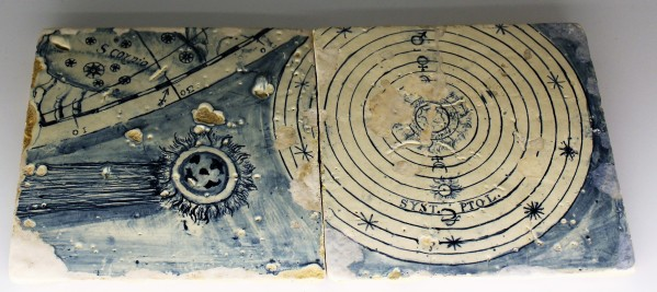 These azulejos (Portuguese tiles) show the Ptolemaic theory of the universe.