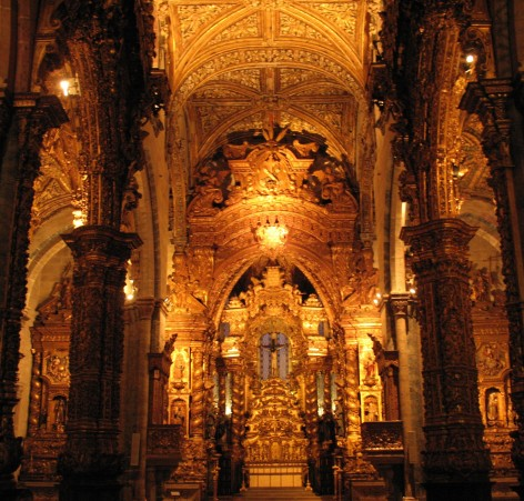 Interior of the church shows off its opulence