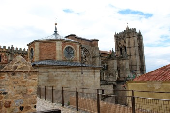 The Cathedral del Salvador forms part of the wall around Avila city center.