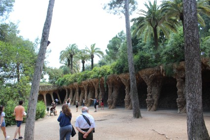 Columns shaped to resemble tree roots support a walkway at Park Güell.